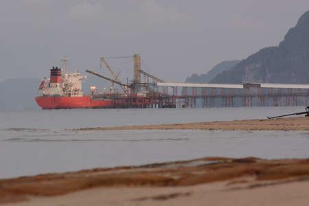 industrail: Early morning view at international sea port, krabi, thailand.