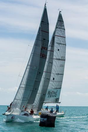 SAMUI, THAILAND - MAY 31 : Samui regatta 2014 event. Racing yacht in a sea on 31 May 2014 in Ko Samui island, Suratthani, Thailand. Stock Photo - 28936173