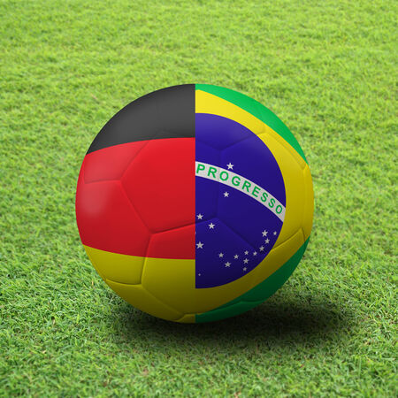 quater: soccer Championship . Final 4 teams round. Brazil vs Germany, Quater final. Stock Photo