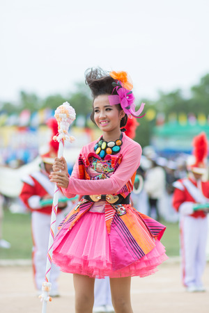 18 years old: KO SAMUI,SURAT THANI - JULY 23 : Unidentified Thai students 6 - 18 years old in ceremony uniform during sport parade on July 23, 2014 in ko samui, Surat Thani, Thailand.