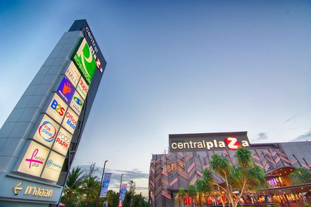 SURTTHANI, THAILAND - JULY 11: Centarl plaza suratthani the biggest mall and most famous place to shopping at twilight on July 11, 2014 in Suratthani, Thailand.