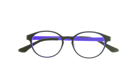 myopic: eye glasses frame isolated on white background. Stock Photo