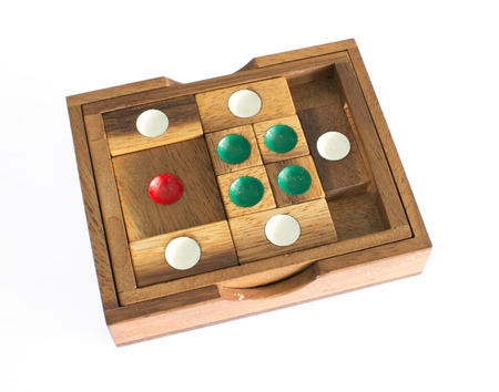 Wood toy for smart brain over white background. photo