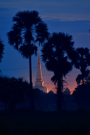 nakhon: Twilight time Pagoda in the south of Thailand, Wat Mahathat in Nakhon Si Thammarat Province. Stock Photo
