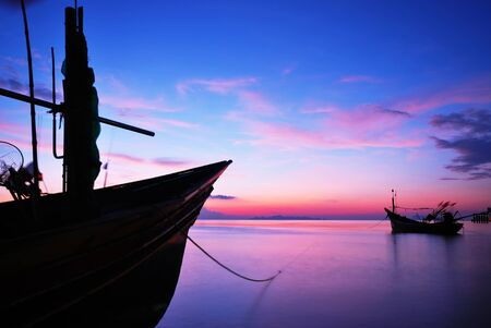 motor boat: sunset view motor boat silhouette colorful background