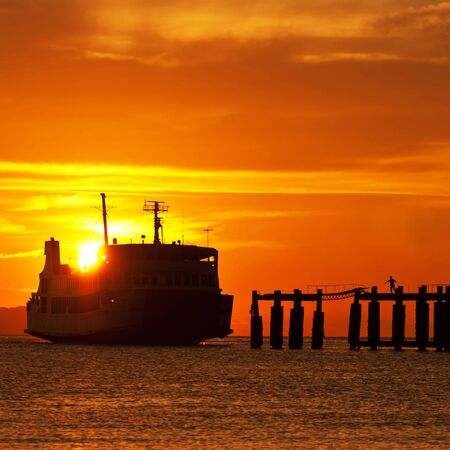 ferry boat: ferry boat to samui during sunset Stock Photo