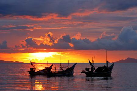 motor boat: sunset time with fisherman motor boat at ko samui