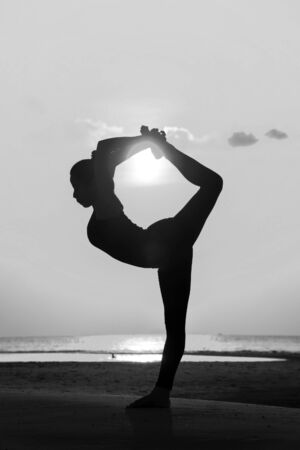 High quality, high resolution, professional yoga woman silhouette at sunset. photo