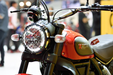 scrambler: Nonthaburi,Thailand - March 24th, 2015: Ducati scrambler super bike ,showed in Thailand the 36th Bangkok International Motor Show on 24 March 2015