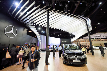 showed: Nonthaburi,Thailand - March 24th, 2015: Merzedes benz booth with, showed in Thailand the 36th Bangkok International Motor Show on 24 March 2015 Editorial
