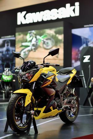 showed: Nonthaburi,Thailand - March 24th, 2015: Kawsaki Z300 ,showed in Thailand the 36th Bangkok International Motor Show on 24 March 2015