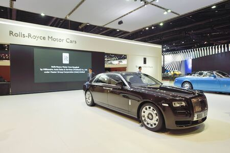 showed: Nonthaburi,Thailand - March 24th, 2015: Rolls-Royce Motor car booth, showed in Thailand the 36th Bangkok International Motor Show on 24 March 2015