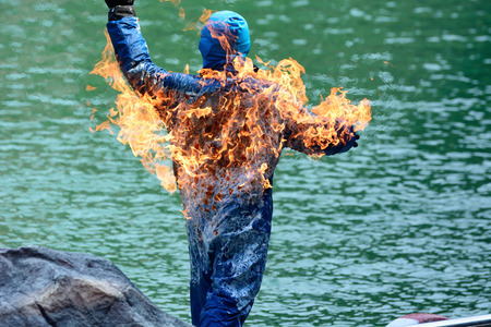 engulfed: Stunt man engulfed in flames