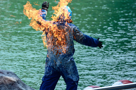 Stunt man engulfed in flames