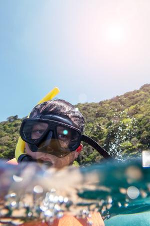 Happy traveler with cuba diving, ko nangyuan, THAILAND. photo