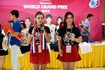 sponsors: Bangkok, Thailand - July 3-5 ,2015 : Participants and sponsors booth in The 23rd edition of the FIVB Volleyball World Grand Prix at Hua Mak Sport Complex.