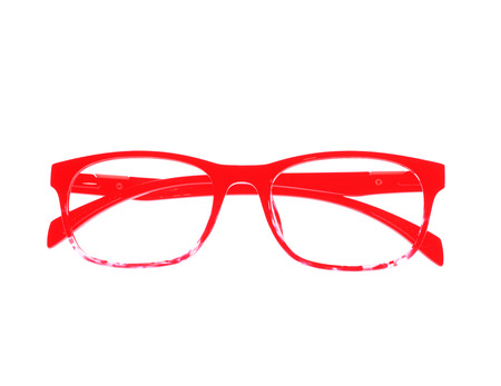 educations: Glasses frame ove white background.
