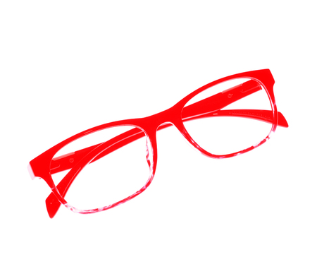 myopic: Glasses frame ove white background.