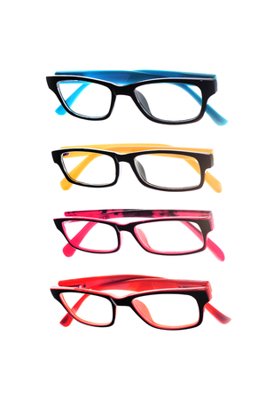 sighted: Eye glasses frames on white background.
