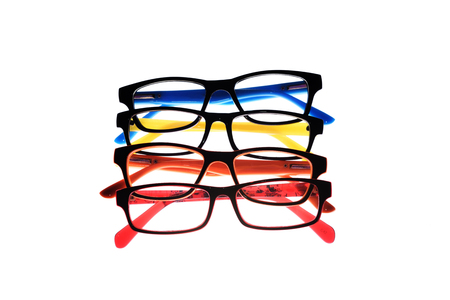 myopic: Eye glasses frames on white background.