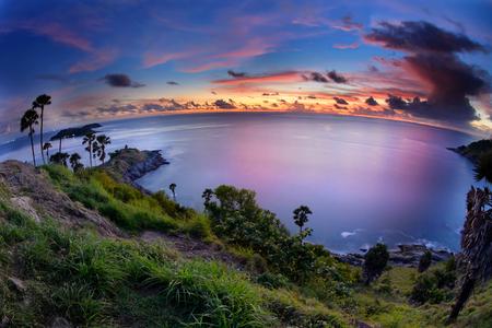 phuket province: Phromthep Cape. The Attractive Landmark of Phuket Southern Province of Thailand. Stock Photo
