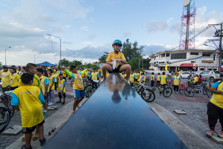 simultaneous: Ko Smui Surat thani, THAILAND, December 11-2015 : This event is Bike for dad  from Thailand. Bike for dad event show respected to king and make Thailands cyclists ride along the city road.