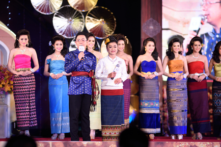 chiangmai province: CHIANGMAI, THAILAND - JANUARY 2nd-5th: Competitors on stage during the Miss chiangmai contest 2016 at Chiangmai province, Thailand. Editorial