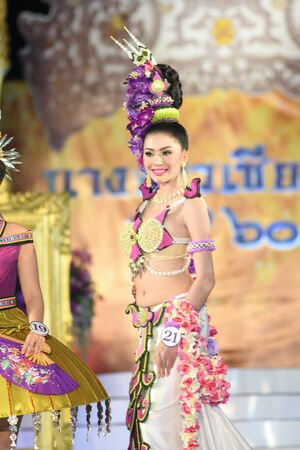 legends: CHIANGMAI, THAILAND - Jan 3-5, 2017 : Miss Chiangmai 2017 beauty pageant. The contestant walking in the first and second round at the Chiangmai Winter Festival 2017 centre stage.