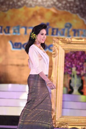 CHIANGMAI, THAILAND - Jan 3-5, 2017 : Miss Chiangmai 2017 beauty pageant. The contestant walking in the first and second round at the Chiangmai Winter Festival 2017 centre stage.