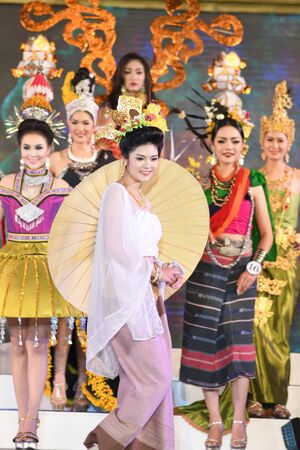 parody: CHIANGMAI, THAILAND - Jan 3-5, 2017 : Miss Chiangmai 2017 beauty pageant. The contestant walking in the first and second round at the Chiangmai Winter Festival 2017 centre stage.