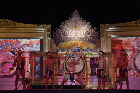 legends: CHIANGMAI, THAILAND - Jan 3-5, 2017 : Miss Chiangmai 2017  The special Thai lanna norther style classic dace show at the Chiangmai Winter Festival 2017 centre stage. Editorial
