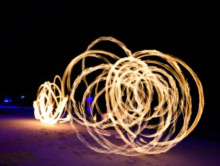 Fire perfomance on the beach.