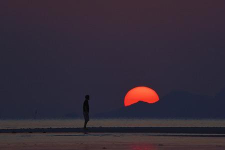 Sunset over the ocean, ko samui, thailand, one man workout, yoga.