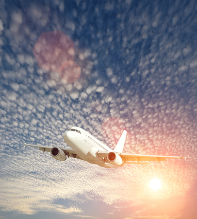 Airplane in sunny sky day with scattered Clouds texture