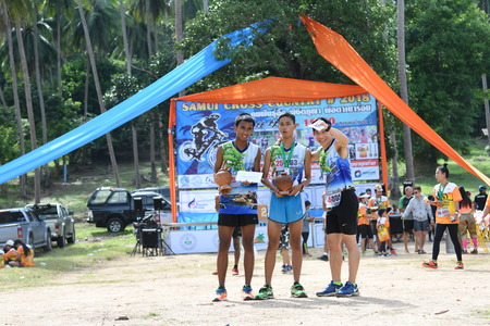 KO SAMUI, THAILAND - MAY 20: Unidentified runners in action at the Samui cross country 2018 on May 20,2018 in Ko Samui island, Thailand. The first of trail running in ko samui thailand.