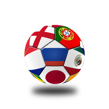 Football 2018, Illustration of mixed flag on one ball.