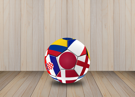 Football 2018, Illustration of mixed flag on one ball. 版權商用圖片 - 104096513