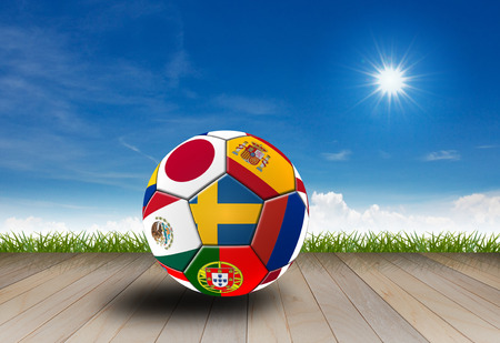 Football 2018, Illustration of mixed flag on one ball. 版權商用圖片 - 104095958