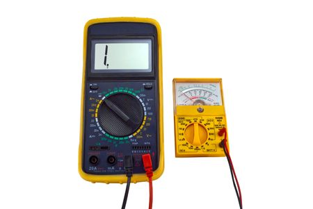 Digital and pointer multimeters on a white background