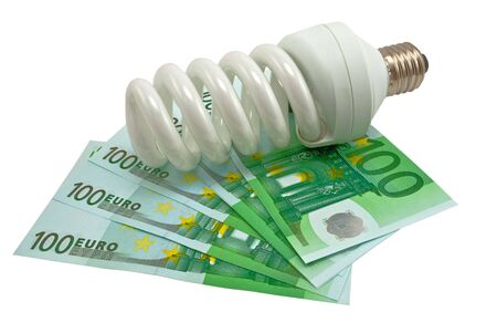 Energy saving lamp and Euro banknotes money photo