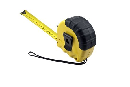 millimetre: The tape measure isolated on white background Stock Photo