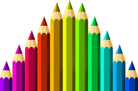 Crayons on a white background photo