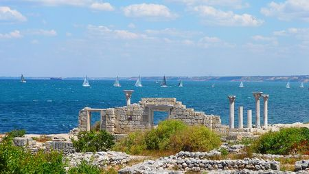 Sailing regatta at coast of Chersonese Taurian in Sevastopol in 2008 Stock Photo