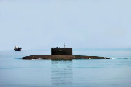 A submarine boat puts out to the high sea