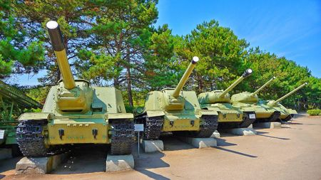 unstoppable: Soviet tank of period of the second world war are in the museum of city of Sevastopol