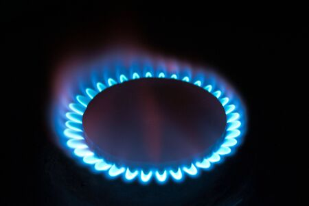 A fire of gas flame is in darkness Stock Photo - 7559717