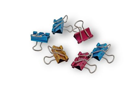 Multicolored paper clips isolated on white background  photo