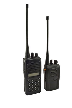 cb phone: Pair of UHF handsets on a white background