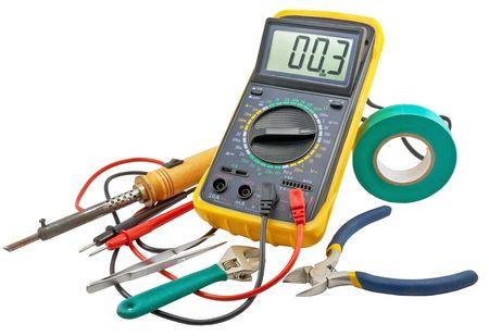 Herramientas para reparación eléctrica doméstica  Foto de archivo - 8099753