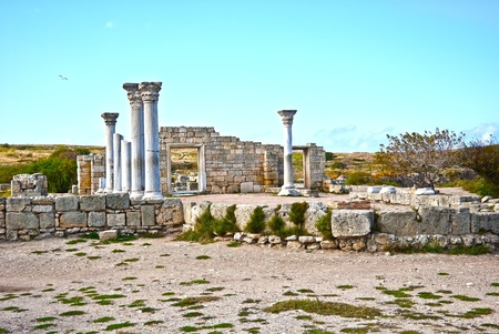 Ancient castle with columns  in Chersonese in Sevastopol town Stock Photo - 8469718